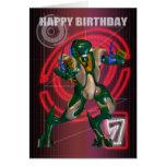 7ème Joyeux anniversaire avec le guerrier de robot Carte De Vœux