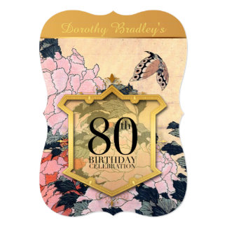 80th Birthday Celebration Butterfly & Peonies - Cards