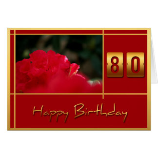 80th Birthday Rhododendron + Quote Greeting Card