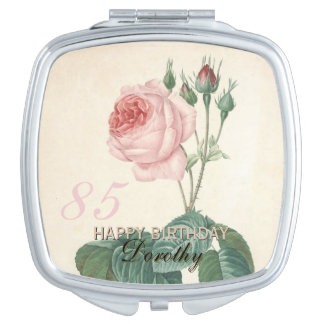 85th Birthday Vintage Rose Personalized Mirrors For Makeup