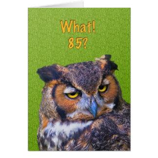 85th Carte d'anniversaire avec le grand hibou à