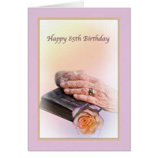 85th Carte d'anniversaire avec les mains et la