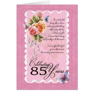 85th carte de voeux d'anniversaire - roses et