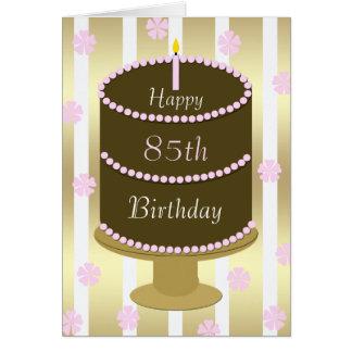 85th Gâteau de carte d'anniversaire dans le rose