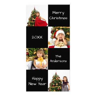 8 carrés noircissent moderne - carte photo de Noël
