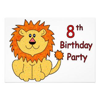 8ème anniversaire de lion mignon invitation