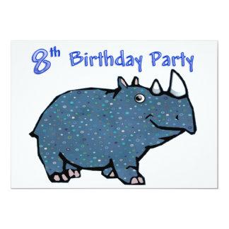 8ème anniversaire de rhinocéros bleu carton d'invitation  12,7 cm x 17,78 cm