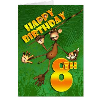 8ème banane heureuse de singe d'anniversaire carte de vœux