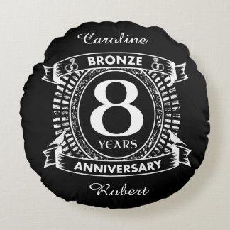 8ème bronze d'anniversaire de mariage coussins ronds