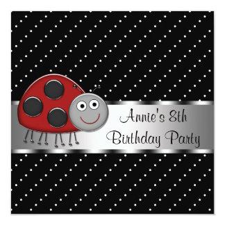8ème fête d'anniversaire de filles rouges de carton d'invitation  13,33 cm