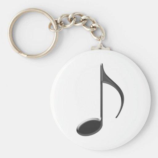 8ème Noir de note de musique Porte-clefs