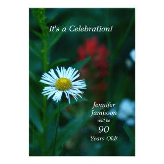 90 années de fête d'anniversaire invite la fleur b