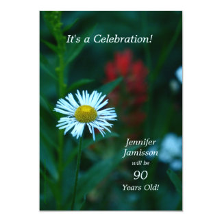 90 années de fête d'anniversaire invite la fleur carton d'invitation  12,7 cm x 17,78 cm
