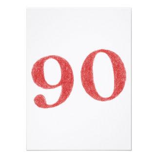 90 ans d'anniversaire carton d'invitation  13,97 cm x 19,05 cm