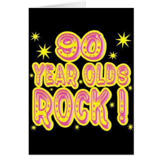 90 ans de roche ! Carte de voeux (rose)