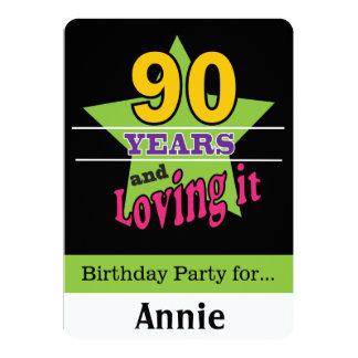 90 ans et l'aimer carton d'invitation  12,7 cm x 17,78 cm