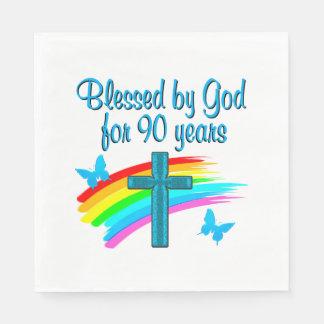 90 ANS RELIGIEUX SERVIETTE EN PAPIER
