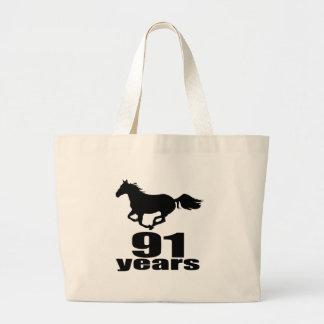 91 ans de conceptions d'anniversaire grand tote bag