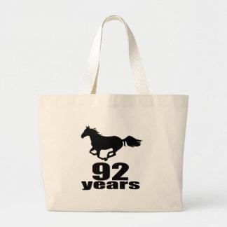 92 ans de conceptions d'anniversaire grand tote bag