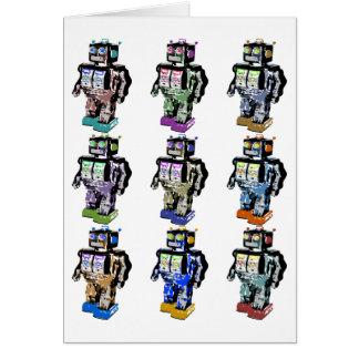 9 robots colorés carte de vœux