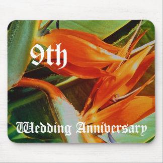 9ème anniversaire de mariage - oiseaux du paradis tapis de souris