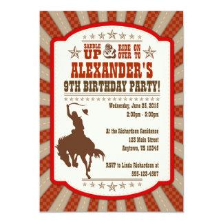 9ème invitation de fête d'anniversaire de cowboy