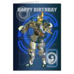 9ème Joyeux anniversaire avec le guerrier de robot Cartes De Vœux