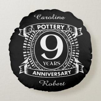 9ème poterie d'anniversaire de mariage coussins ronds