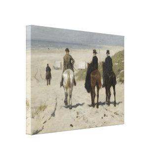 À cheval tour le long de la plage - toile de toiles