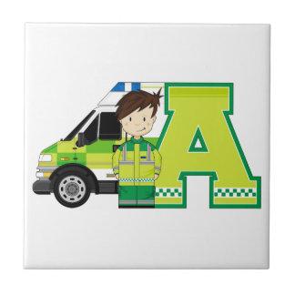 A est pour l'ambulance petit carreau carré