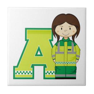 A est pour l'ambulancière petit carreau carré