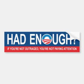 A eu assez ? Anti adhésif pour pare-chocs d'Obama Autocollant Pour Voiture