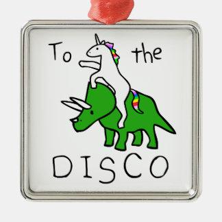 À la disco (Triceratops d'équitation de licorne) Ornement Carré Argenté