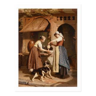 À la laiterie, 1866 (huile sur le panneau) carte postale