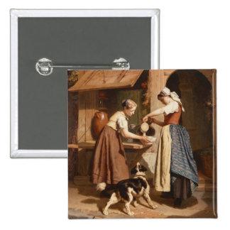 À la laiterie, 1866 (huile sur le panneau) pin's