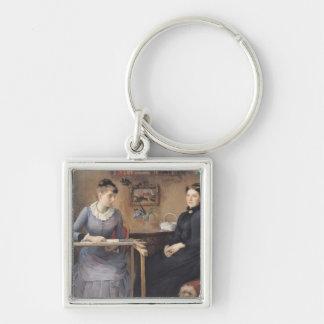 À la maison ou intimité, 1885 porte-clé carré argenté