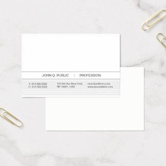 À la mode blanc et gris simple moderne cartes de visite