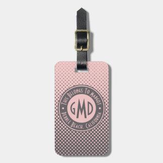 À la mode gris rose millénaire de monogramme de étiquette pour bagages
