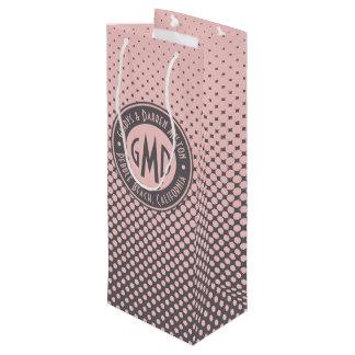 À la mode gris rose millénaire de monogramme de sac cadeau pour bouteille
