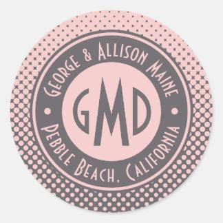 À la mode gris rose millénaire de monogramme de sticker rond