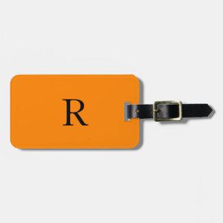 À la mode noir orange lumineux de nom d'initiales étiquette à bagage