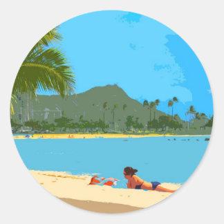 À la plage en Hawaï ! Adhésifs Ronds