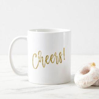 À la votre ! Tasse de café de feuille d'or de Faux