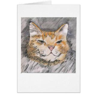 À l'encre avec le chat orange d'aquarelle - cartes