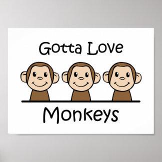 A obtenu d'aimer des singes poster