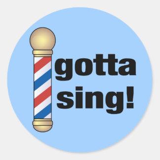 A obtenu de chanter le cadeau de raseur-coiffeur sticker rond