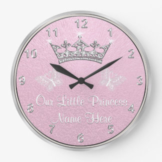 A personnalisé notre petite princesse Clock, Grande Horloge Ronde