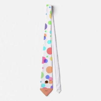 À petits pois nommé personnalisé d'arc-en-ciel de cravate