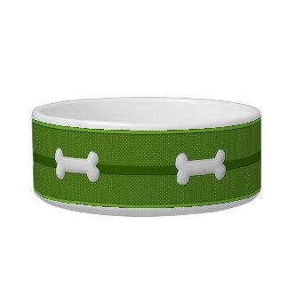 À petits pois vert et blanc de bol d'aliments pour écuelle pour chat