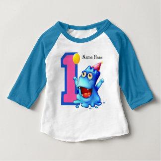 Ă?re coutume d'anniversaire de monstre bleu t-shirt pour bébé